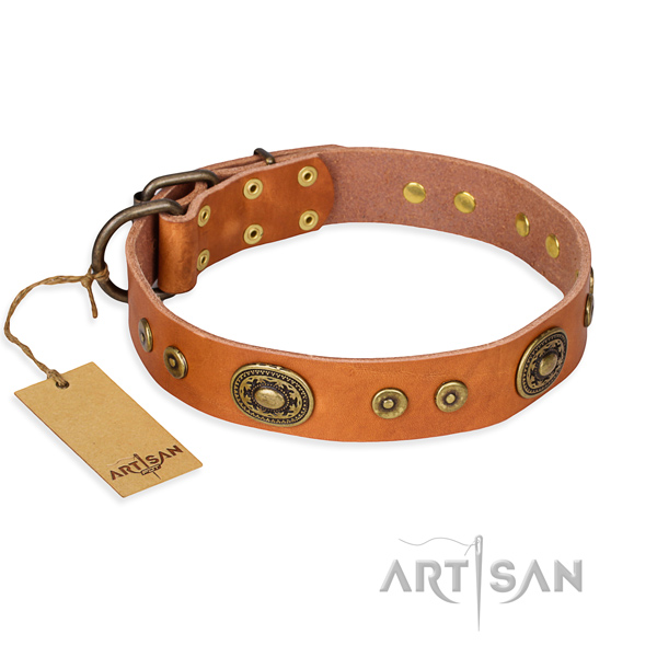 Natural genuine leather dog collar made of top notch material with corrosion proof fittings