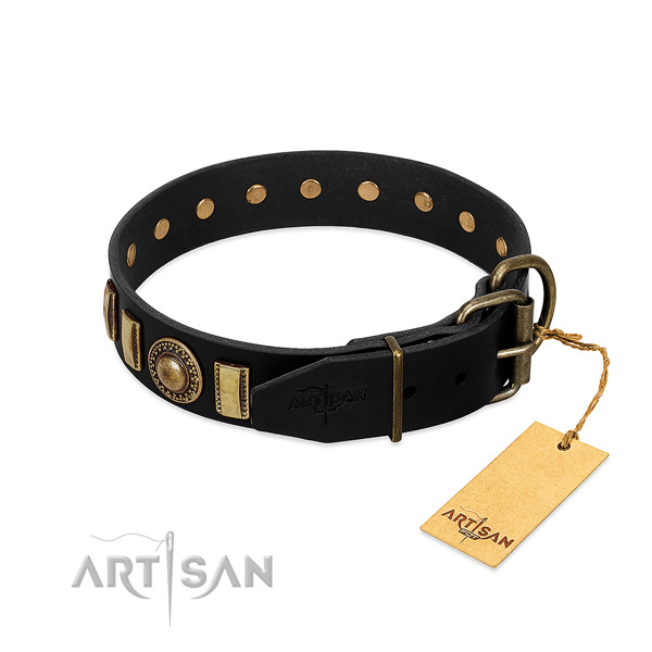 Gentle to touch full grain natural leather dog collar with adornments