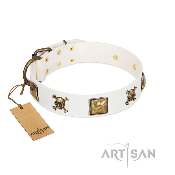 Fancy walking soft to touch genuine leather dog collar with adornments