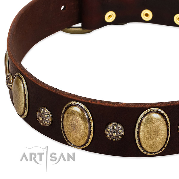 Walking soft natural genuine leather dog collar