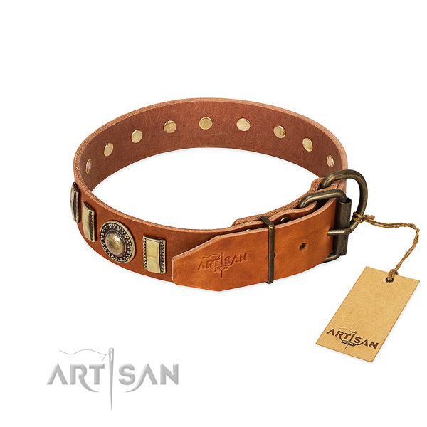 Significant full grain leather dog collar with rust resistant hardware