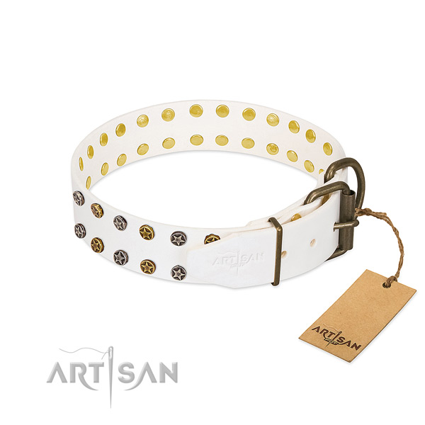 Stylish design genuine leather dog collar with corrosion resistant decorations