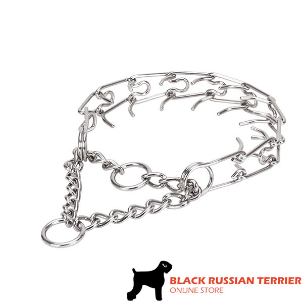 Prong collar of corrosion-proof stainless steel for ill behaved canines