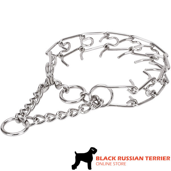 Stainless steel dog prong collar with removable links for large pets