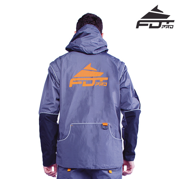 FDT Pro Dog Tracking Jacket of Grey Color with Handy Side Pockets