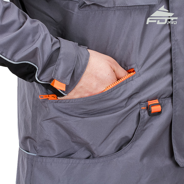 FDT Professional Dog Trainer Jacket with Back Pockets for Any Weather Use
