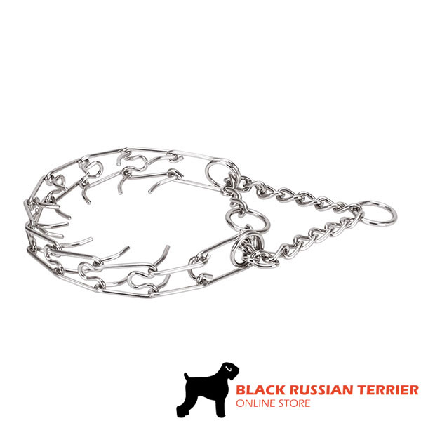 Dependable prong collar with stainless steel O-ring for leash attachment