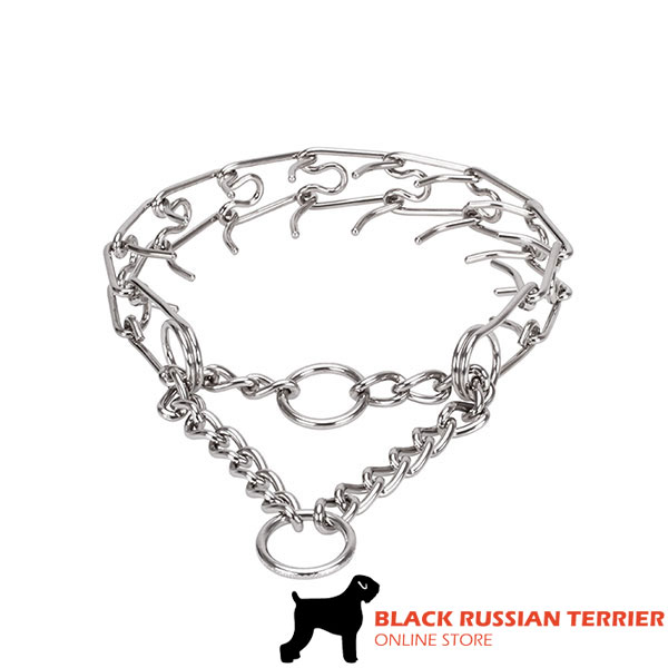 Adjustable stainless steel dog prong collar with removable prongs for medium dogs