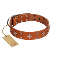 """Tawny Beauty"" FDT Artisan Tan Leather Black Russian Terrier Collar Adorned with Stars and Tiny Squares"