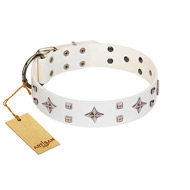 """The Milky Way"" FDT Artisan White Leather Black Russian Terrier Collar Adorned with Stars and Tiny Squares"