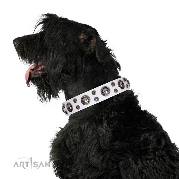 Easy wearing decorated dog collar of strong genuine leather