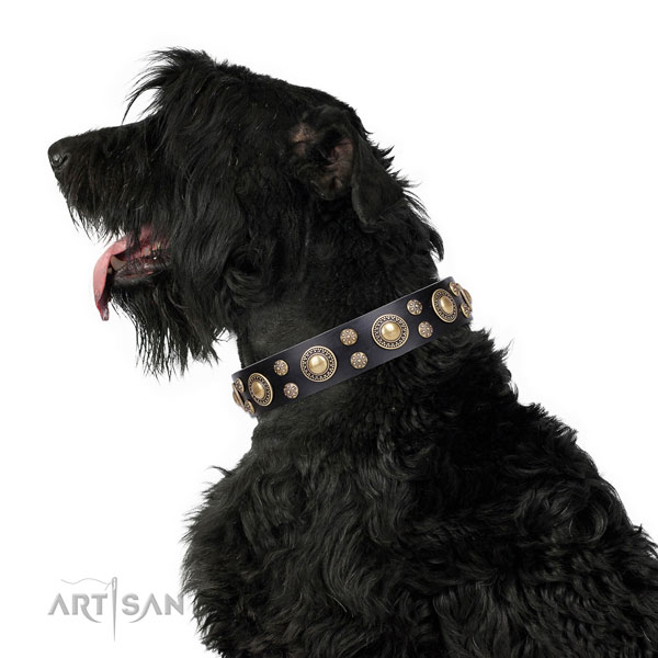 Daily walking decorated dog collar of top notch genuine leather