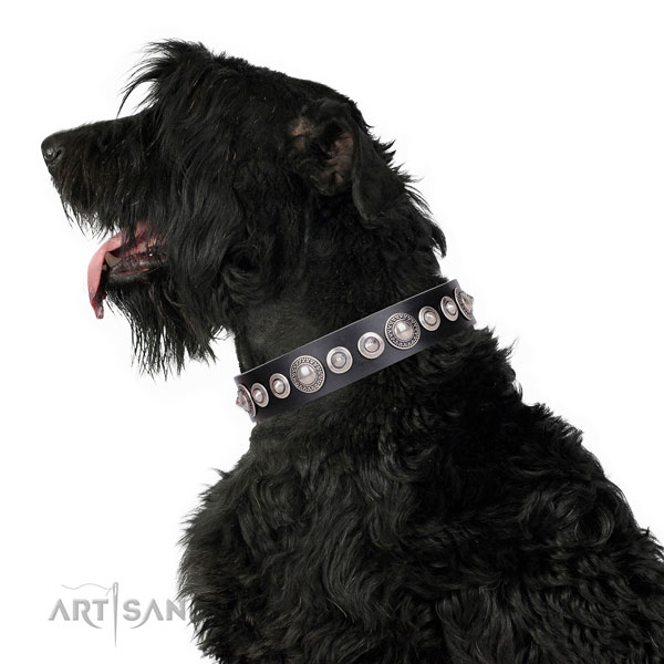 Stylish design decorated leather dog collar for easy wearing