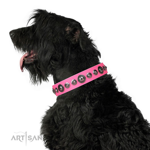 Incredible embellished genuine leather dog collar for comfy wearing