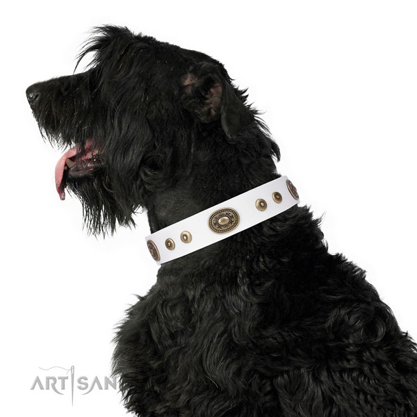 Trendy studded natural leather dog collar for easy wearing