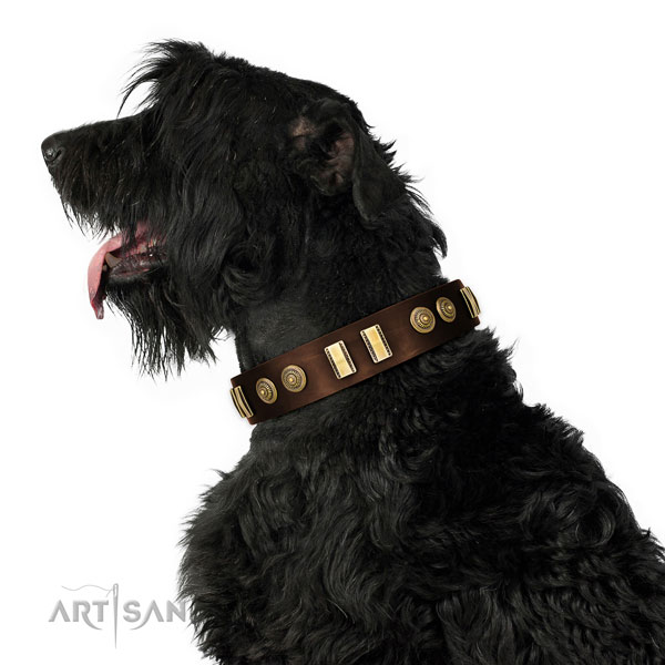 Rust-proof hardware on genuine leather dog collar for fancy walking