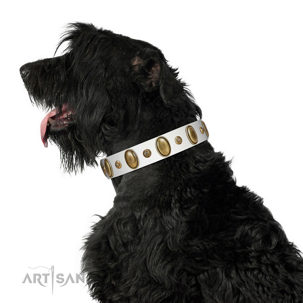 Handy use flexible genuine leather dog collar with studs