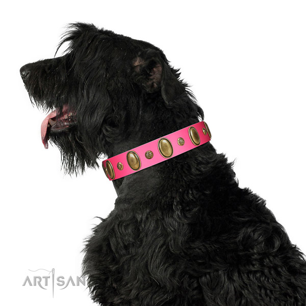 Easy wearing top notch full grain leather dog collar with studs