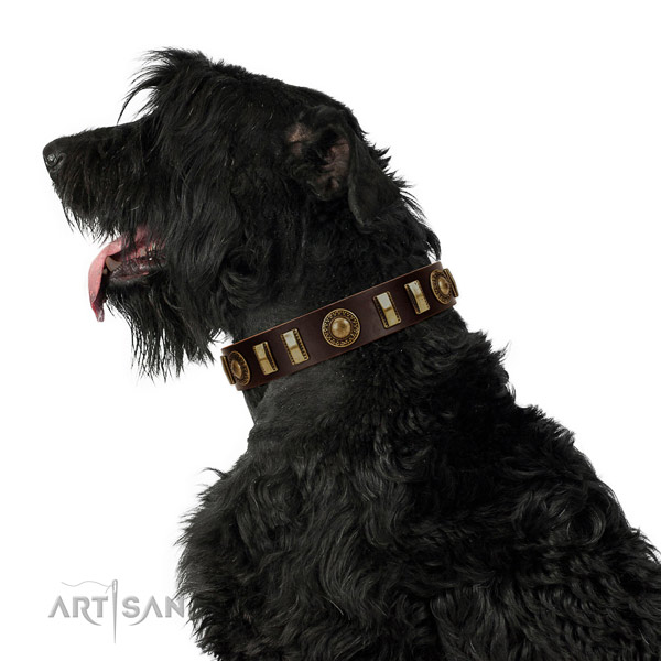Gentle to touch genuine leather dog collar with rust-proof traditional buckle