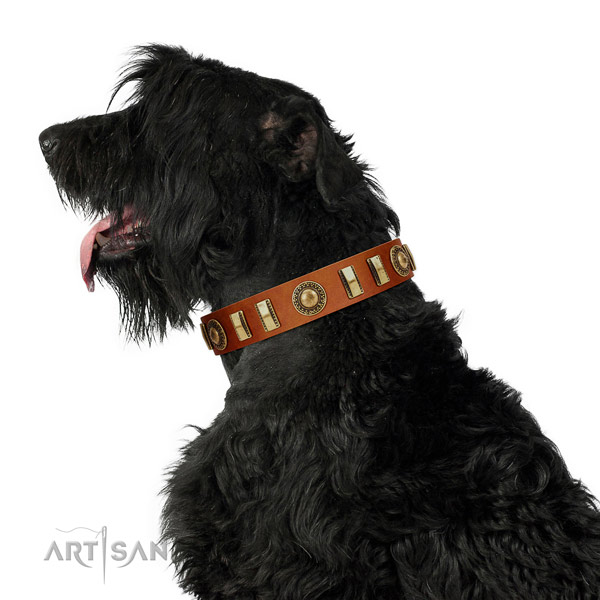 Easy wearing full grain natural leather dog collar with strong buckle