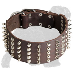 Wide Black Russian Terrier Collar with Spikes and Pyramids
