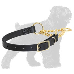 Safe Practical Leather Martingale Russian Terrier Collar