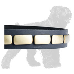Shiny Horizontal Plates on Walking Leather Russian Terrier Collar