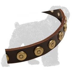 Brass Dotted Circles on Training Leather Black Russian Terrier Collar