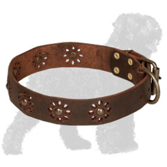 Decorated with Flowers Leather Russian Terrier Collar for Walking