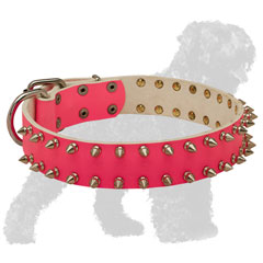 Hand-Decorated Walking Pink Leather Black Russian Terrier Collar with Spikes