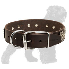 Durable Leather Black Russian Terrier Collar with Reliable Nickel Buckle