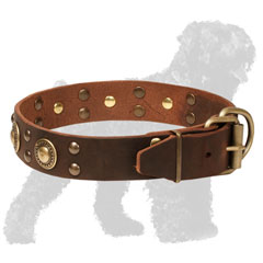 Walking Leather Russian Terrier Collar with Studs and Conchos and Strong Buckle