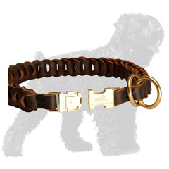Quick Release Buckle on Leather Walking Braided Russian Terrier Collar
