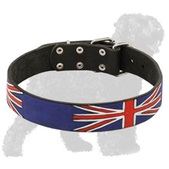 Hand-Painted Leather Russian Terrier Collar with the British Flag Pattern