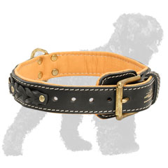 Adjustable Training Leather Russian Terrier Collar Brass Fittings