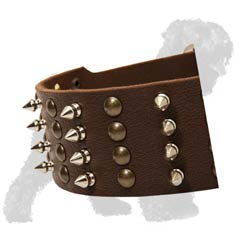 Hand-Placed Spikes and Studs on Leather Dog Collar for Russian Terrier