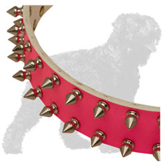 Stylish Spikes on Pink Leather Russian Terrier Collar for Handling