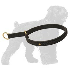 2 ply leather choke collar for Black Russian Terrier