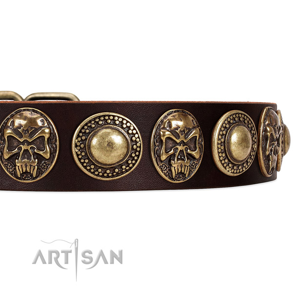 Full grain natural leather dog collar with decorations for comfy wearing
