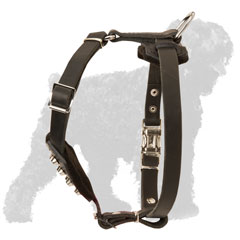 Small Leather Black Russian Terrier Harness for Puppies with Wide Straps
