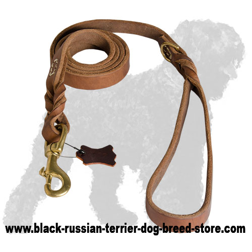Latigo Leather Russian Terrier Leash with Braids