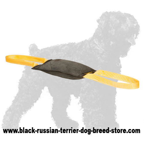 Leather Russian Terrier Bite Tug with Handles