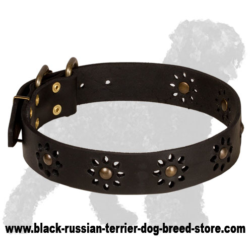 Fashionable Leather Bulldog Collar with Flowery Pattern