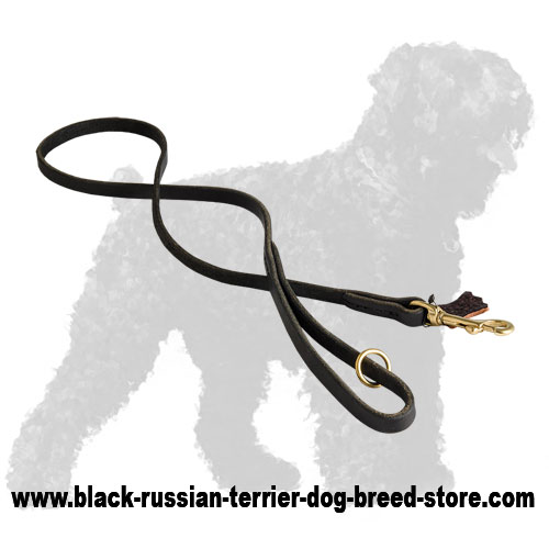 Hand-Stitched Durable Leather Russian Terrier Leash