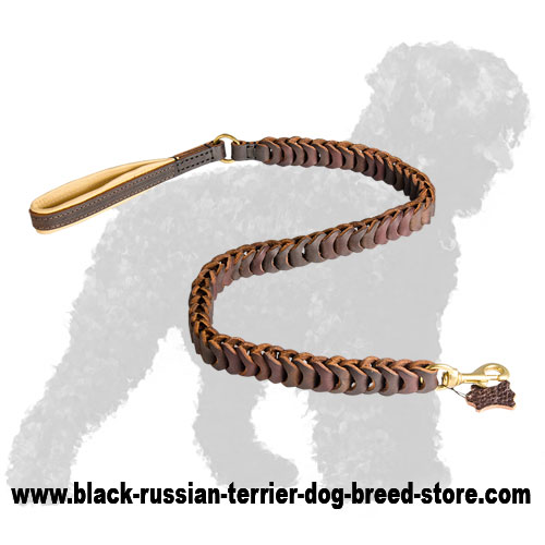 Stylish Braided Leather Russian Terrier Leash