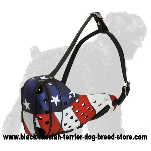 Patriotic Leather Russian Terrier Muzzle with an American Flag Painting