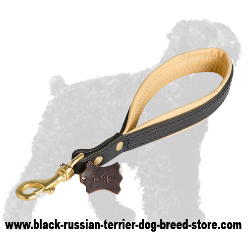 Short Leather Black Russian Terrier Pull Tab Leash
