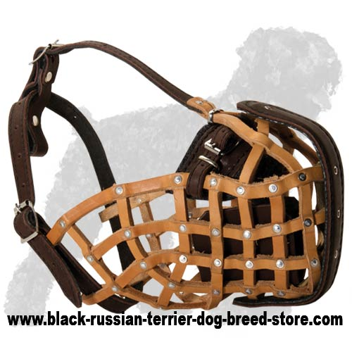 Leather basket K9 muzzle for Black Russian Terrier