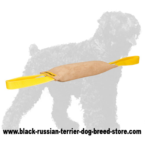 Top Quality Leather Russian Terrier Bite Tug with Handles