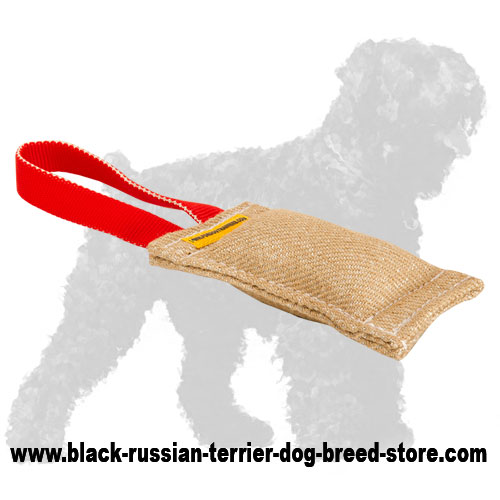 Quality Jute Black Russian Terrier Bite Tug with Handle